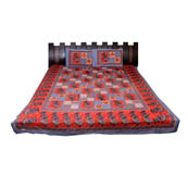 Red and Gray  Print Cotton Double Bed Sheet -0T14