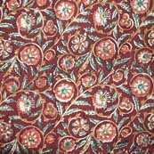 Red and Green Floral Kalamkari Cotton Fabric