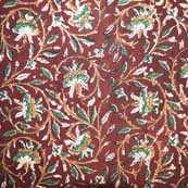 Red and Green Floral Traditional Kalamkari Art Cotton Fabric