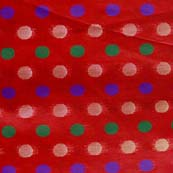 Red and Multicolor Bold Dotted Brocade Silk Fabric by the yard