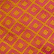 Red and Orange Triangle Shapes Design Brocade Silk Fabric by the yard