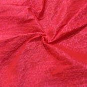 Red and Pink Leaf Pattern Brocade Silk Fabric-8028