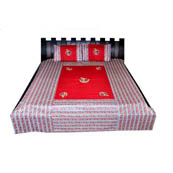 Red and Pink  Print Cotton Double Bed Sheet -0RGU04M