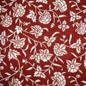 Red and White Kalamkari Beautiful Floral Pattern Cotton Kalamkari Fabric