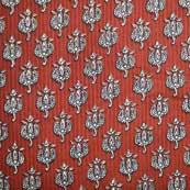 Red and White Kalamkari Traditional Flower Hand Pattern Cotton Kalamkari Fabric