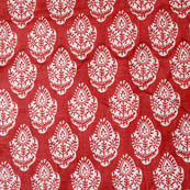 Red and White Leaf Indian Cotton Block Print Fabric-4205