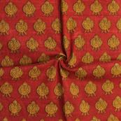 Red and Yellow Floral Pattern Block Print Cotton Slub Fabric-14326