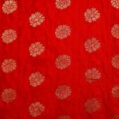 Red and golden brocade silk fabric-5037