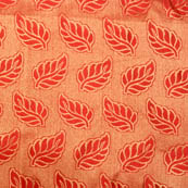 Red and golden leaf pattern brocade silk fabric-4987
