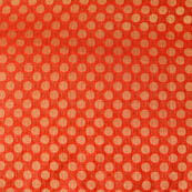 Red and golden polka Printed brocade silk fabric-4597