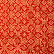 Red and golden star shape brocade silk fabric-4971