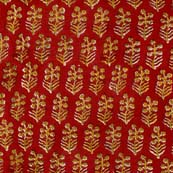 Red and yellow Flower Block Print cotton fabric by the yard