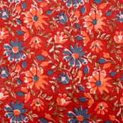 Red-blue and orange large flower cotton block print fabric-5204