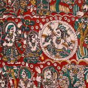 Red bride and groom screen printed kalamkari fabric 4481