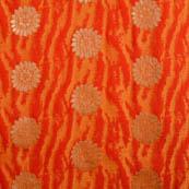 Red-orange and golden flower shape brocade silk fabric-5033