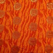 Red-orange and golden silk fabric-5036