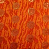 Red-orange and golden silk fabric-5036