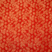 Red paisley flower shape brocade silk fabric-4969