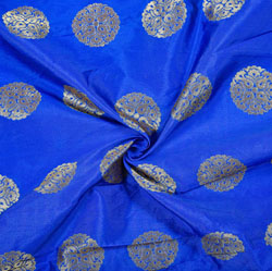 Royal-Blue Golden Circle Brocade Silk Fabric-12084