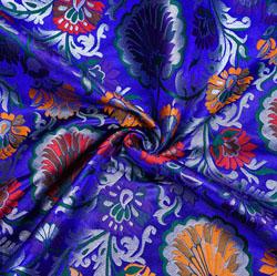 Royal-Blue Pink and Yellow Kinkhab Banarasi Silk Fabric-12003