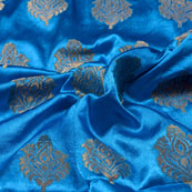 Royal Blue and Golden Floral Pattern Brocade Silk Fabric-5416