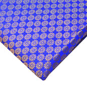 Royal Blue and Golden Small Flower Pattern Brocade Silk Fabric-8238
