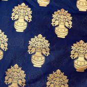 Royal Blue and Golden flower pot brocade silk fabric-4645