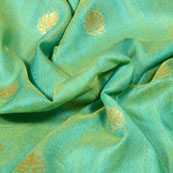 Royal Green and Golden Leaf Pattern Brocade Silk Fabric-5431