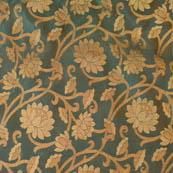 Royal Green and Golden flower pattern brocade silk fabric-4638