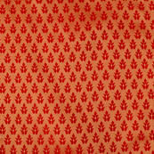 Royal Red and golden leaf pattern silk brocade fabric-4627