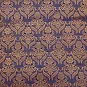 Royal blue and golden royal paisley brocade silk fabric-4979