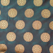 Royale Green and large golden circle shape brocade silk fabric-4636