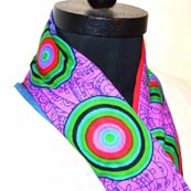 Scarf for Womens with Concentric Circles on Purple Base