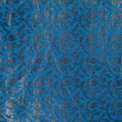 Sea Blue and Golden Leaf Pattern Indian Brocade Fabric-4300