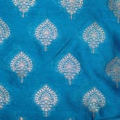 Sea Blue and Golden Unique Pattern Brocade Fabric-4290