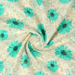 Sea-Green Beige Block Print Cotton Fabric-16086
