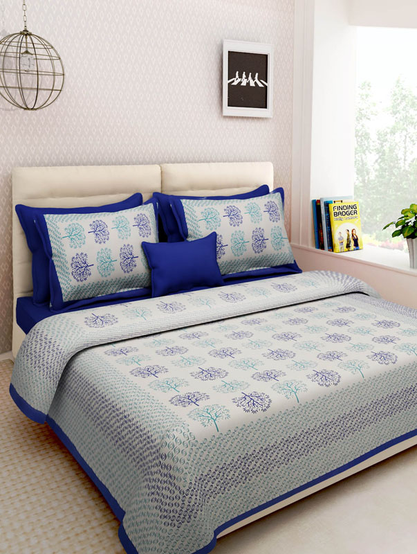 Sea Green Blue Cotton Jaipuri Bedsheet-678