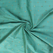 Sea Green Golden Zari Dot Silk Fabric-9473