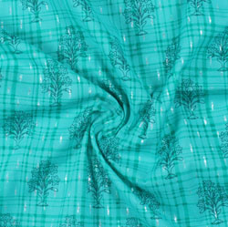 Sea-Green Green Block Print Cotton Fabric-16203