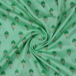 Sea-Green Green Block Print Cotton Fabric-16205