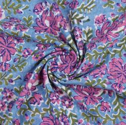 Sea-Green Pink Block Print Cotton Fabric-16201