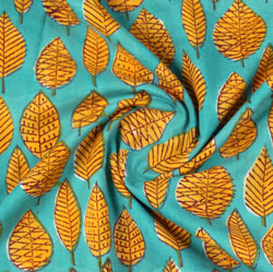 Sea-Green Yellow Block Print Cotton Fabric-16153