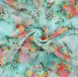 SeaGreen Pink Floral Organza Digital Silk Fabric-22165