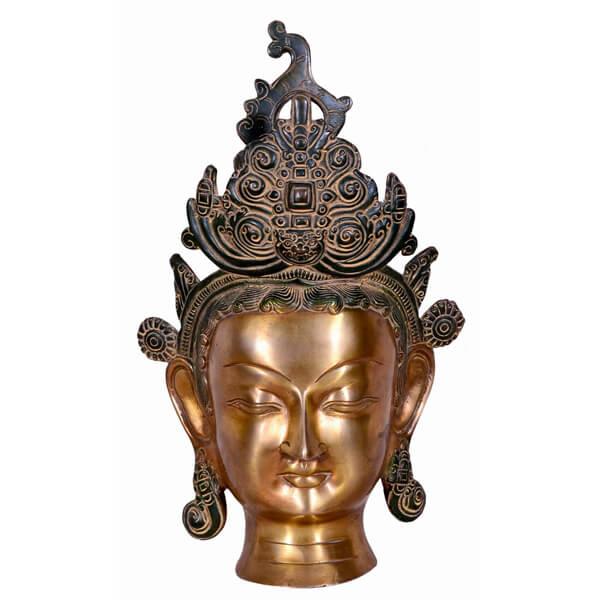 Shining Buddha head statue