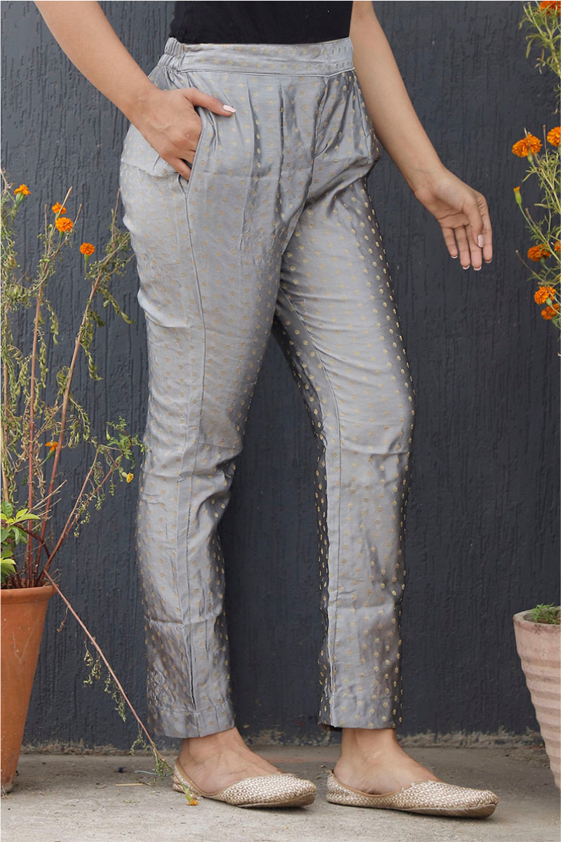 Silver Golden Brocade Silk Ankle Women Pant-34193