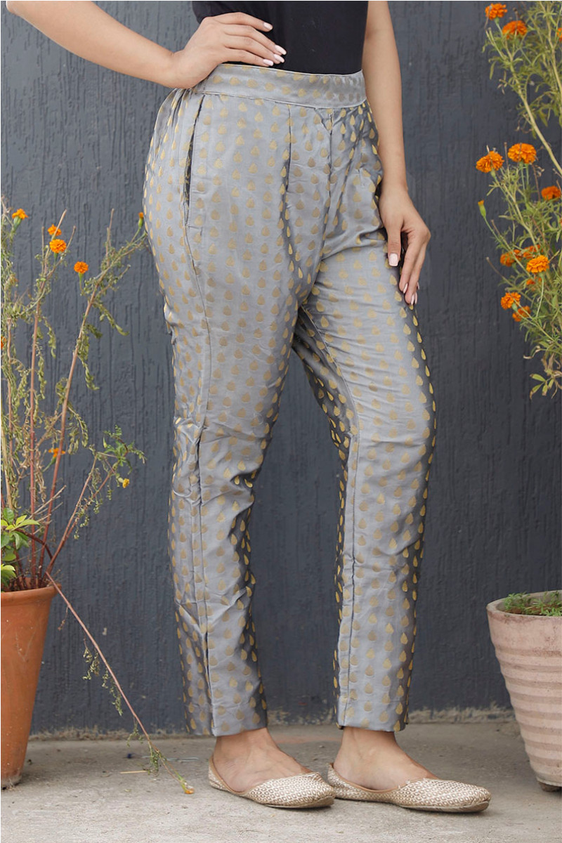 Silver Golden Brocade Silk Ankle Women Pant-34196