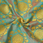 Sky Blue-Brown and Golden Flower Pattern Brocade Silk Fabric-8032