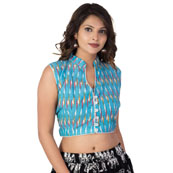 Sky Blue-White and Green Cut Sleeve Cotton Ikat Blouse-30223