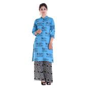 Sky Blue 3/4 Sleeve Mantra Printed Solid Cotton Kurti-3026