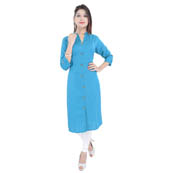 Sky Blue 3/4 Sleeve Solid Cotton Kurti-3014